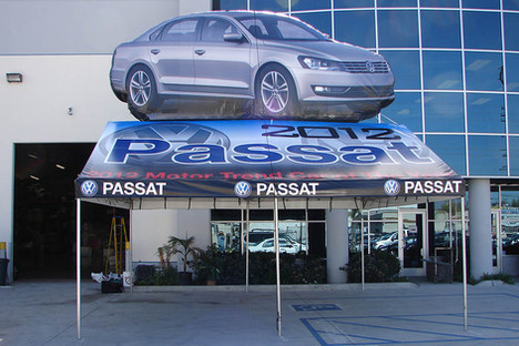 20x20 custom printed gable end frame tent with inflatable car VW Passat