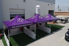 10x10 custom printed pop up canopies with inflatable cup coffee bean