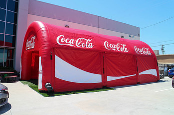Custom inflatable tunnel tent with company logo Coca-Cola