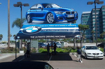 20x20 custom printed gable end frame tent with inflatable car BMW 3 Series