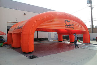 Huge inflatable arch tent with company logo A Team