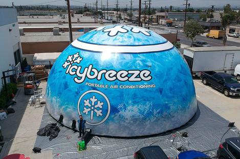 Giant custom printed inflatable tent icybreeze