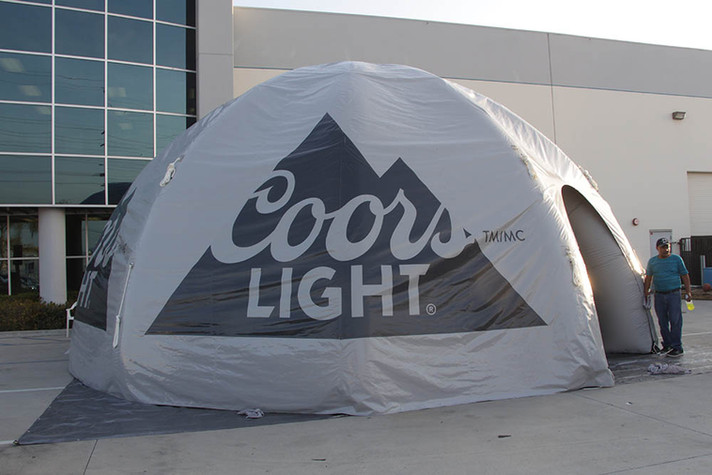 Custom printed inflatable dome tent with company logo Coors Light
