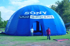 Custom printed inflatable dome tent with company logo Sony Vaio