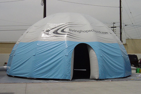 35ft inflatable dome event tent with printed logo Living Hope Church