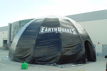 Custom inflatable dome tent with printed logo Earthquakes