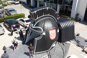 Inflatable football helmet tunnel run through D Legion SD Spartan