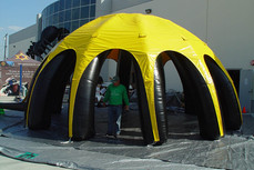 Large inflatable spider dome tent yellow for outdoor events