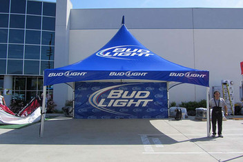 20x20 Large commercial custom printed high peak tent with business logo Bud Light