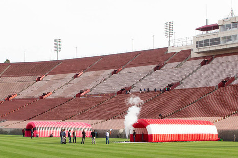 Large inflatable sport event tunnels at Los Angeles Coliseum