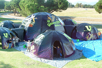 Custom printed inflatable dome event tents connected with tunnels MTV