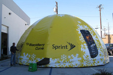Custom inflatable dome tent with printed graphics and logo for Sprint