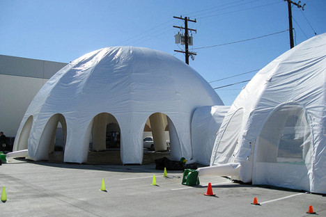 Giant inflatable white spider  dome tents connected with tunnel