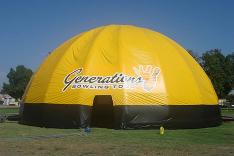Giant custom inflatable dome event tent with printed business logo Generations Bowling Tour