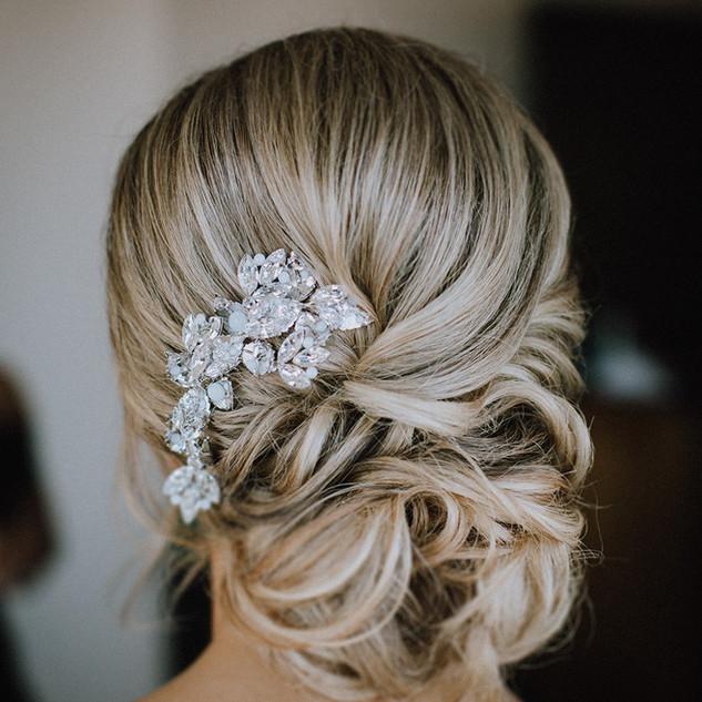 Low bridal bun