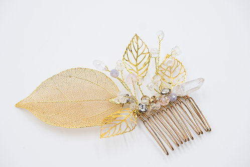 Saraphina Gold and Lavender bridal hair comb