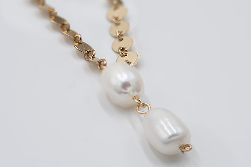 Gold Two Drop Pearl Necklace