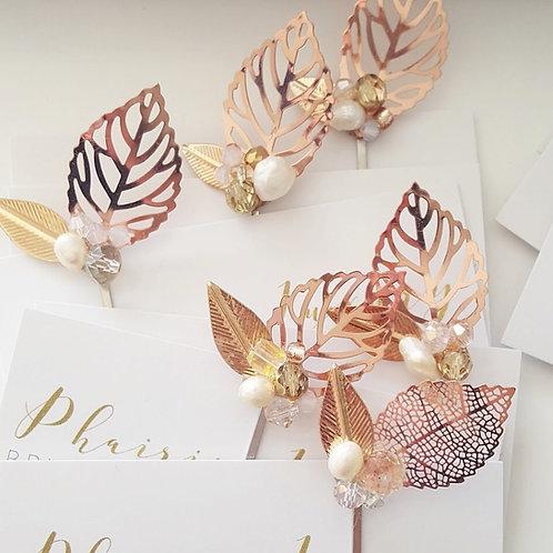 Aleesha Rose Gold Leaf Hair Pins