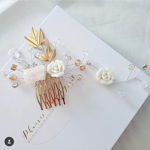 Sarah White and Gold Druzy Bridal Comb