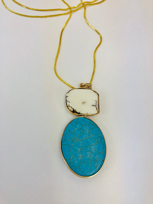 Aqua Semi precious natural stone necklace
