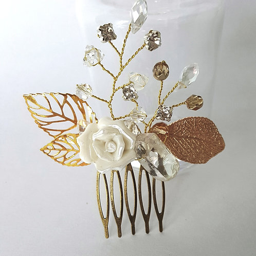 Olivia White and Gold Bridal Hair Comb
