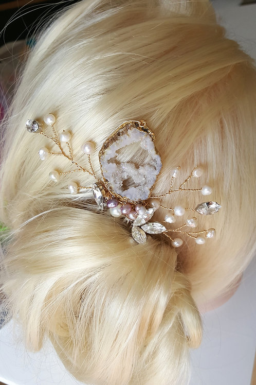 Bianca Violet Pearl Druzy Hair Comb