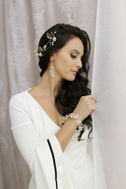 Gold Silk Organza Bridal Jewelry Set