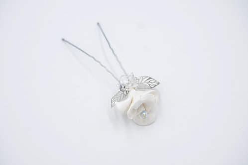Madison White Rose Crystal Hair Pin