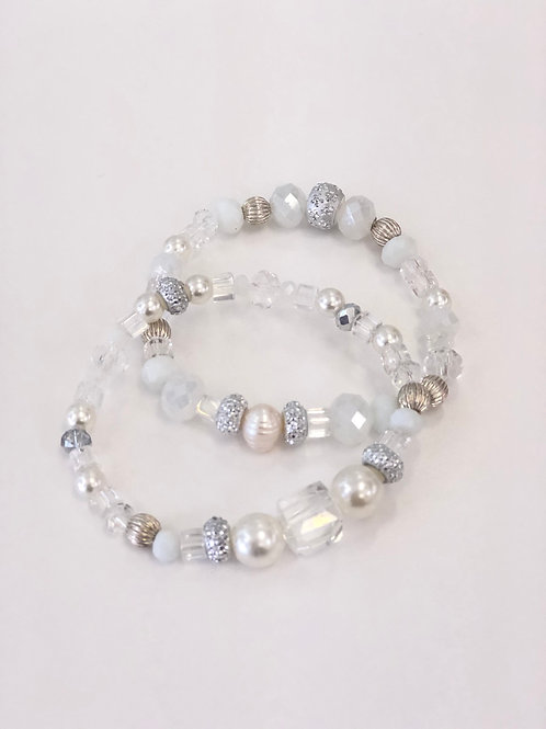 White Double Pearl and Crystal Bracelet