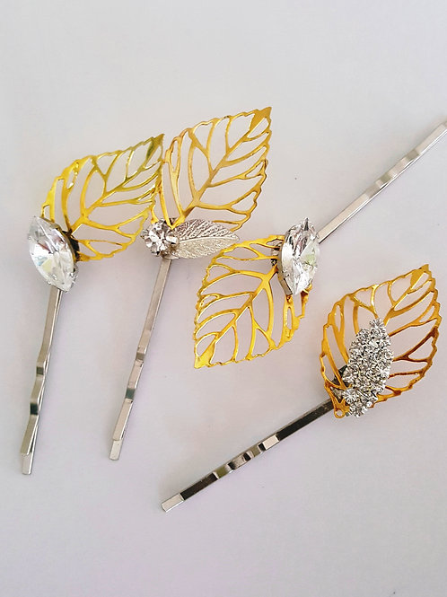 Alice Gold leaf hair pins