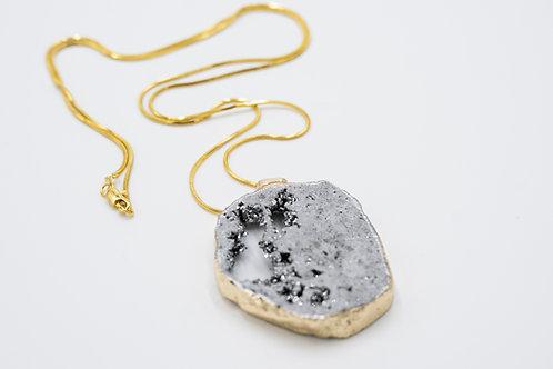 Charcoal Druzy 18k necklace