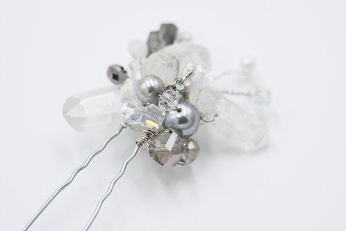 Victoria Silver Crsyatl Quartz Hair Pin