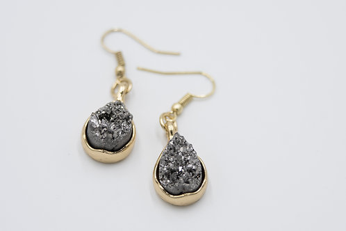 Charcoal and Gold Druzy Earrings