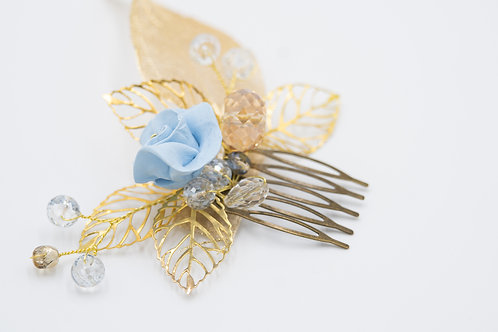 Mia Gold and Blue Bridal Hair Comb