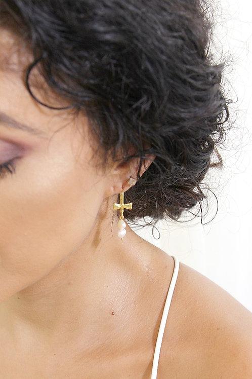 Gold Bow 2 Drop Pearl Earrings