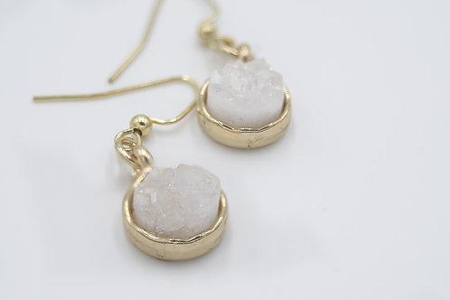 Gold and WhiteDruzy Earrings