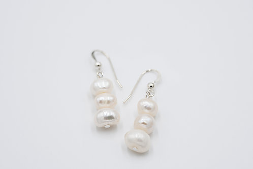 White Classic 3 Drop Pearl Earrings