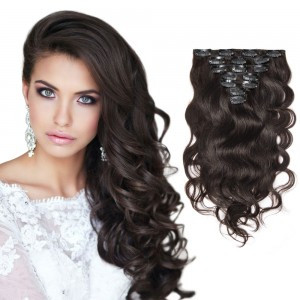 Curly clip-in extensions