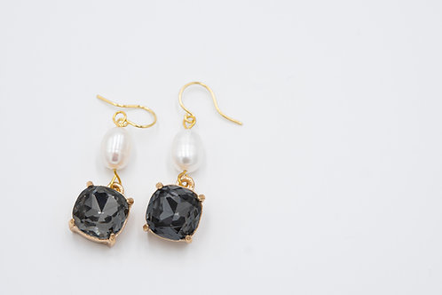 Ebony Crystal and Pearl Drop Earrings