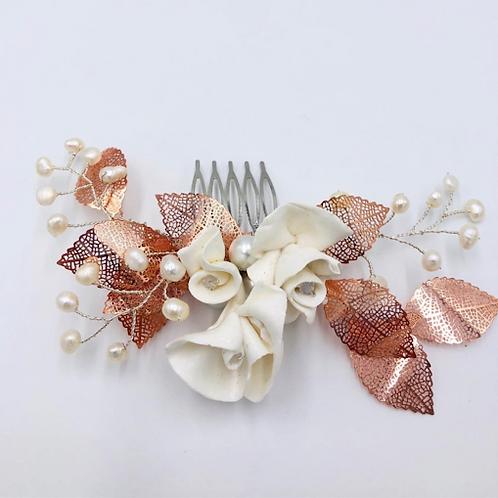 Rose Gold Garden Bridal Hair Comb