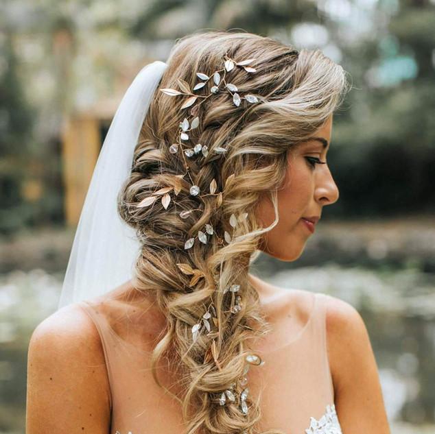 Side braid with our custom hair vine