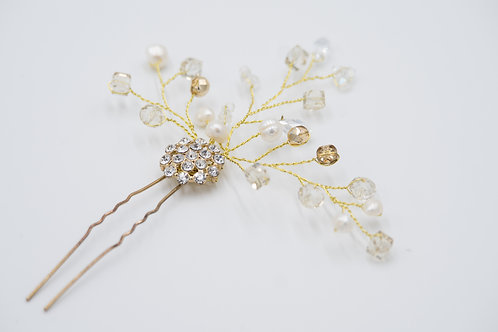 Lilly Champagne Pearl Cluster Hair Pin