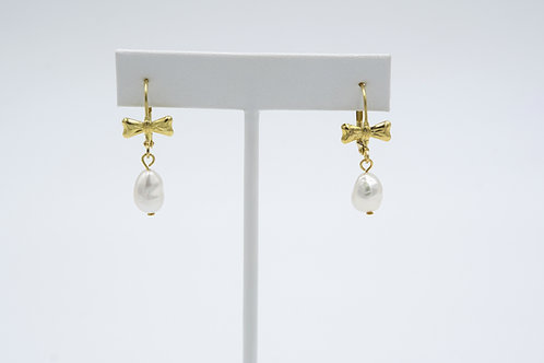 Gold Bow One Drop Pearl Earrings