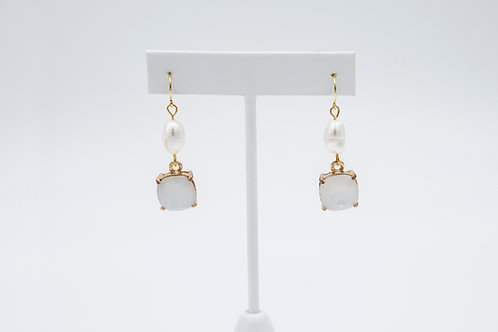 Opal Crystal and Pearl Drop Earrings