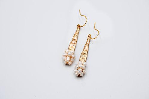 Gold Pearl Cluster Earrings