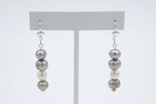 Silver Irridscent Pewter Pearl Drop Earrings