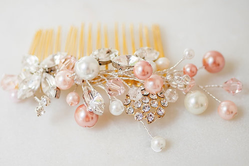 Alessandra Blushing Pearl and Rhinestone hair comb