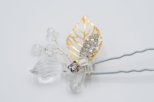 Stephanie Petite Crystal Gold Leaf Hair Pin