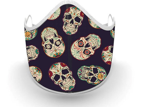 Fabric printed Skull Mask, Made in Canada, Great for Day of the Dead