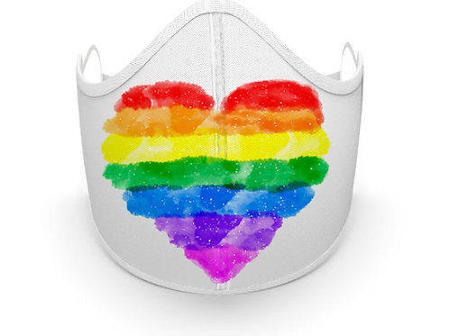 Fabric printed Heart Mask, Made in Canada. Great for Pride